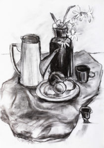 black and white still life with coffee pot